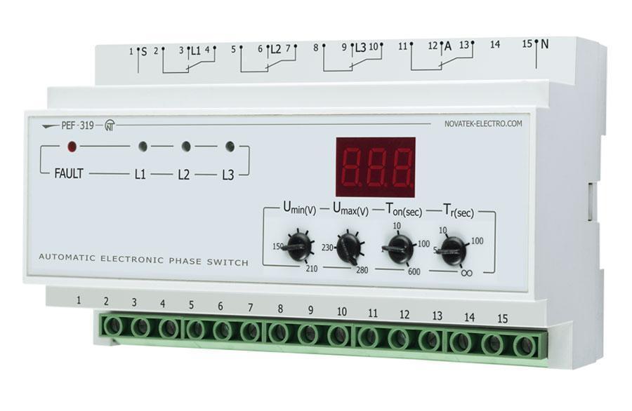 Uniwersalny automatyczny elektroniczny przełącznik faz PEF-319, фото