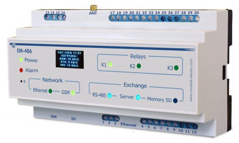 Контроллер SMS-оповещения об авариях на Modbus-оборудовании ЕМ-486, ����